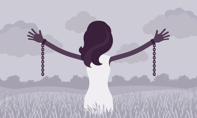 Unchained woman with stretched out arms, rear view. Girl with removed chains set free, feeling personal power, freedom, liberation from slavery, restraint. Vector illustration, faceless character
