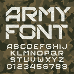 Army alphabet typeface. Scratched messy letters and numbers on camo background. Vector font for your design.