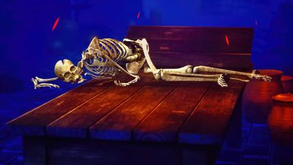 Human skeleton in medieval dungeon 3d rendering