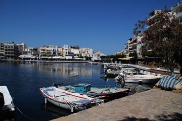 Printed roller blinds City on the water Der Hafen von Agios Nikolaos