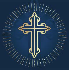 Elegant Holy Cross Christian and Orthodox Background Illustration