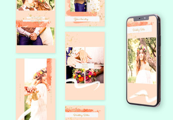 Social Media Story Layouts Set with Golden Accents