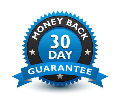Blue simple yet reliable, medal, Label, Icon, Seal, Sign 30 day money back guarantee badge with ribbon Isolated on White Background.