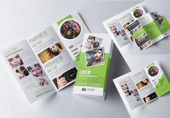 Green Trifold Photography Brochure Template
