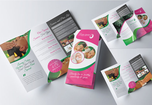 Beauty Spa Trifold Brochure Layout