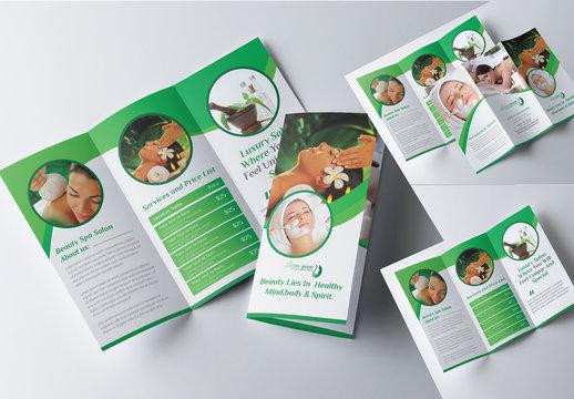 Beauty Salon Trifold Brochure Layout