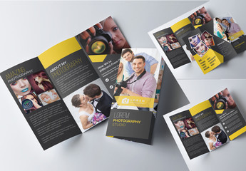 Trifold Photography Brochure Template with Dark Yellow Accents