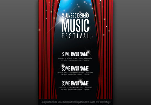 Music Festival Poster with Curtains Layout