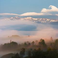 Spring view to Svydovets mountain range in Carpathians, Ukraine