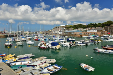 Jersey, U.K. July 7th 2019, The old 19th St Helier harbour in the Summer.