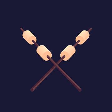 Marshmallow roasting hand drawn flat color vector