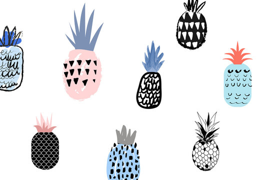 Set of Hand Drawn Pineapples