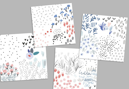 Set of Hand Drawn Floral Backgrounds
