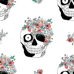 Printed roller blinds Watercolor Skull Vector hand drawn seamless pattern illustration of skull Print horror for t shirt. Mexican style, day of the dead, halloween.