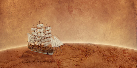 Foto auf AluDibond Schiff Sailing ship on old world map. Concept of a search for treasure and new discoveries. Copy space beside.
