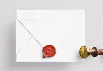 Envelope with Wax Seal and Stamp Mockup