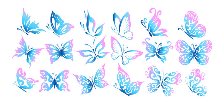 A set of logo butterflies. A butterfly logo made of patterns. Vector illustration.