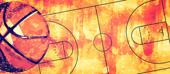 Estores personalizados de deportes con tu foto Basketball banner background. Abstract basketball background with copy space.