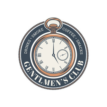 Vintage gentlemen club design elements, logo, emblem, stamp. Hipster logo. Vector illustration.