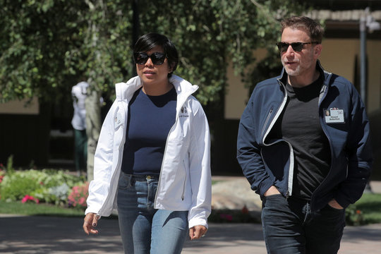 Stewart Butterfield, Slack CEO and co-founder and Jen Rubio, Away co-founder and president, attend the annual Allen and Co. Sun Valley media conference in Sun Valley, Idaho