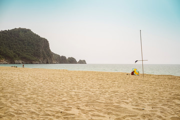 Cleopatra beach in Alanya, a famous historic beach with turqouise wate
