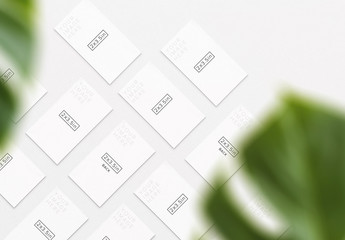 Alternating Business Card Set Mockup with Foreground Plant