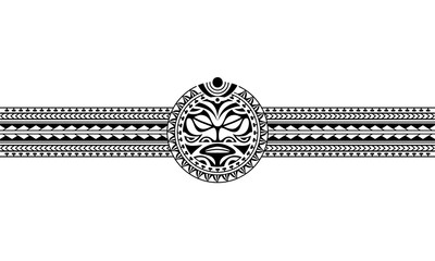 Maori polynesian tattoo border tribal sleeve pattern vector. Samoan bracelet tattoo design fore arm or foot. Armband tattoo tribal.