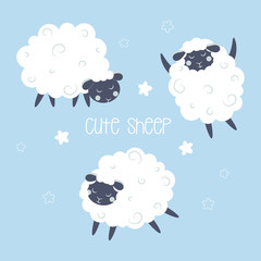 set with cute sheep