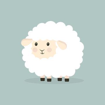 nice cartoon sheep isolated