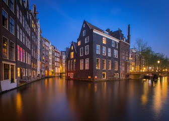 The famous Amsterdam canals in the night