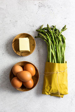 Asparagus, eggs and a piece of butter