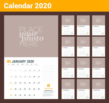 Wall calendar planner template for 2020 year. Vector design print template with place for photo. Week starts on Sunday. 3 months on page