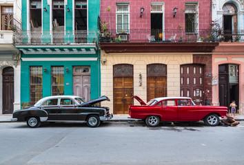 Two parked vintage car,s Havana, Cuba