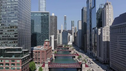 Fototapete - Chicago downtown skyline buildings aerial