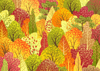 Autumn  background with forest. Landscape with trees and leaves. Bright nature banner. Frame with plants. Vector template
