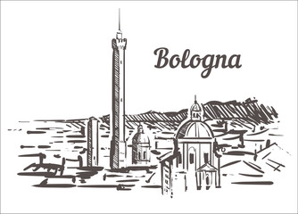Fotomurales - Bologna skyline sketch. Bologna, Italy hand drawn illustration