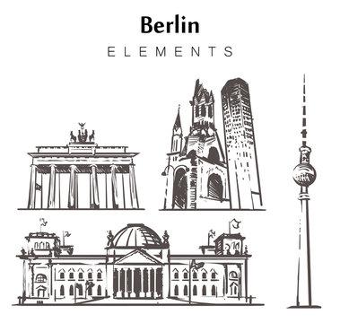 Set of hand-drawn Berlin buildings elements sketch vector illustration.