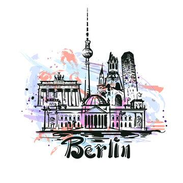 Berlin abstract color drawing. Berlin sketch vector illustration