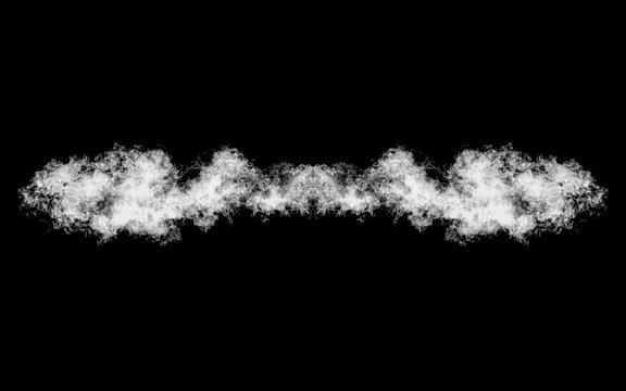 Smoke shape isolated on black, title element, underline
