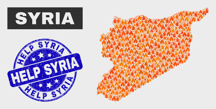 Vector collage of wildfire Syria map and blue round grunge Help Syria seal. Orange Syria map mosaic of wildfire icons. Vector combination for fire protection services, and Help Syria seal.
