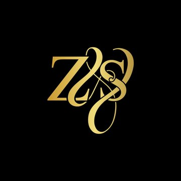 Z & S ZS logo initial vector mark. Initial letter Z & S ZS luxury art vector mark logo, gold color on black background.