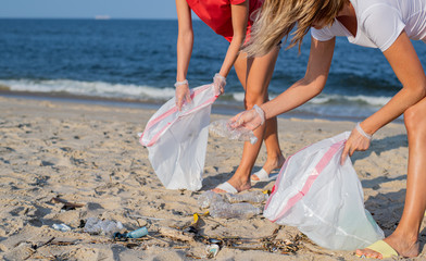 Group of volunteers cleaning up beach line. People tidying up rubbish on sea shore. Ecology concept
