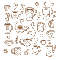 Set with cute cartoon cups and plants. Group of various dishes. Vector contour image no fill.