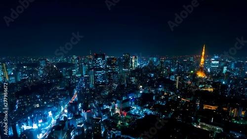 東京 空撮風 タイムラプス 摩天楼の街並み 夜景 Wall Mural Oka