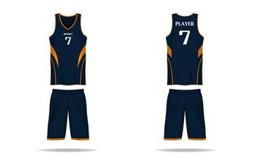 Specification basket Jersey template. mock up Sport T Shirt v neck uniform . Vector Illustration design