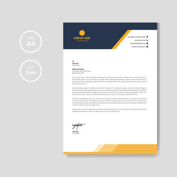 Modern orange letterhead layout template vector