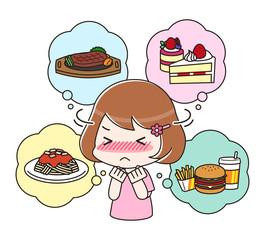 食べたいものを我慢するダイエット中の女性 上半身
