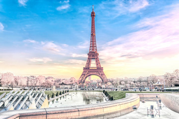 Foto auf Gartenposter Paris View of the Eiffel Tower in Paris at Christmas time, France. Romantic travel background