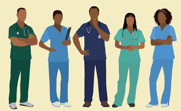 Black African Nurses in Scrubs
