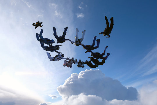Formation skydiving. A group of skydivers is in the amazing sky.